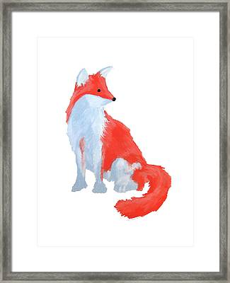 Cute Fox With Fluffy Tail Framed Print
