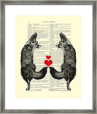 Cute Foxes Framed Print