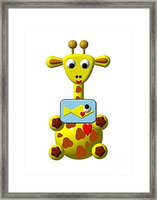 Cute Giraffe With Goldfish Framed Print