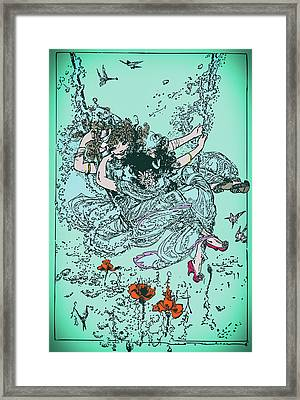Cute Girl On The Swing In The Sky - Vintage Drawing Framed Print by Wall Art Prints