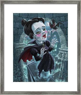 Cute Gothic Horror Vampire Woman Framed Print by Martin Davey