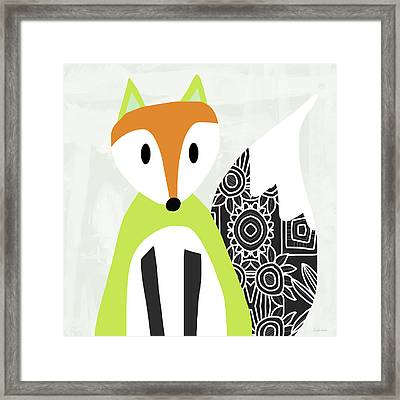 Cute Green And Black Fox- Art By Linda Woods Framed Print by Linda Woods