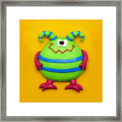 Cute Green Monster Framed Print