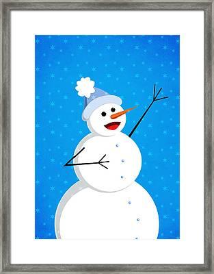 Cute Happy Snowman Framed Print
