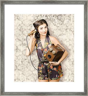 Cute Housewife In 50s Style On Vintage Phone Framed Print