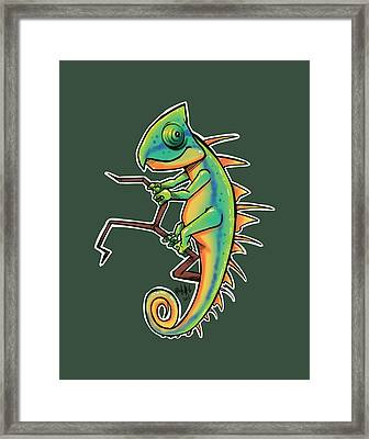 Cute Iguana Framed Print by Tim Michael Ufferman