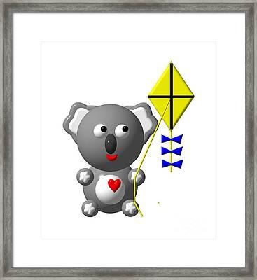 Cute Koala With Kite Framed Print