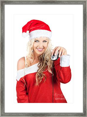 Cute Lady Santa Claus With Computer Mouse Framed Print