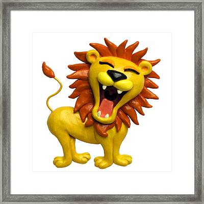 Cute Lion Roaring Framed Print