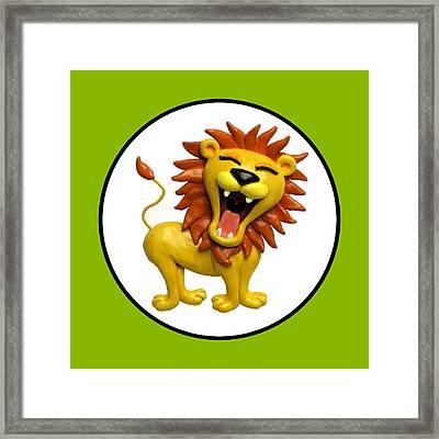 Cute Lion Roaring Circle Framed Print