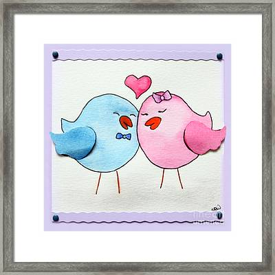 Cute Lovebirds Watercolour Framed Print
