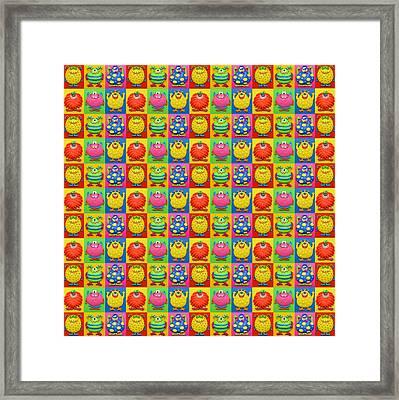 Cute Monster Pattern Framed Print