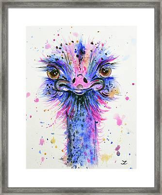 Cute Ostrich Framed Print by Zaira Dzhaubaeva