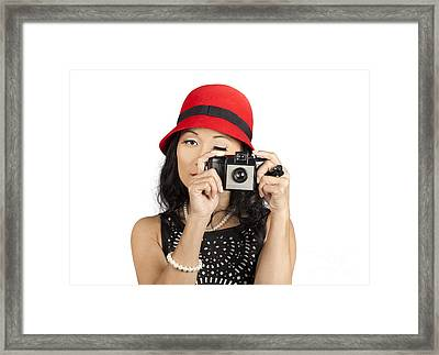 Cute Pin Up Asian Lady Taking Photo With Camera Framed Print
