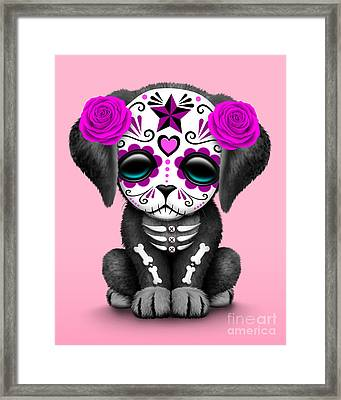 Cute Pink Day Of The Dead Sugar Skull Dog  Framed Print