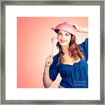 Cute Pinup Cook Thinking Up Colander Cooking Idea Framed Print by Jorgo Photography - Wall Art Gallery