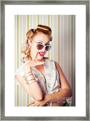 Cute Pinup Fashion Girl With Surprised Expression Framed Print