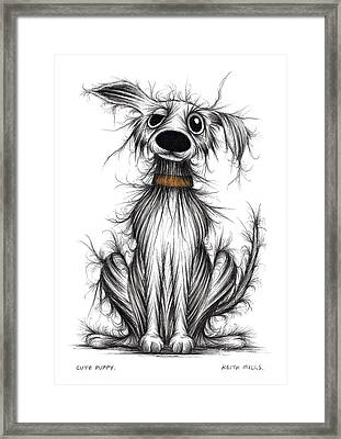 Cute Puppy Framed Print by Keith Mills