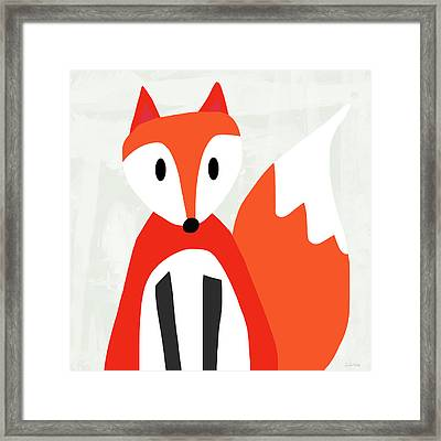 Cute Red And White Fox- Art By Linda Woods Framed Print