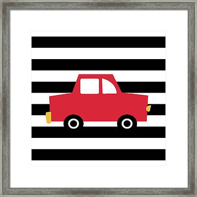 Cute Red Car- Art By Linda Woods Framed Print