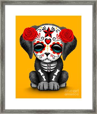 Cute Red Day Of The Dead Sugar Skull Dog  Framed Print