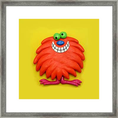 Cute Red Monster Framed Print
