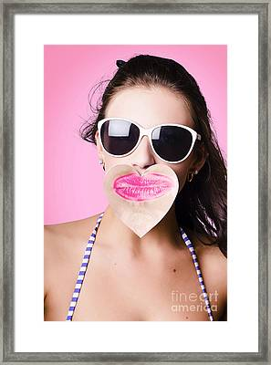 Cute Romance Girl Giving Kiss With Love Heart Note Framed Print by Jorgo Photography - Wall Art Gallery