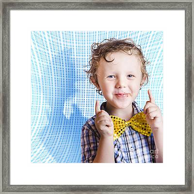 Cute Smiling Child Enjoying Easter Chocolate Framed Print