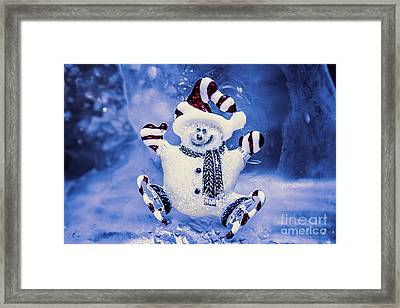 Cute Snowman In Ice Skates Framed Print