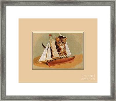 Cute Victorian Kitten, Wooden Toy Ship Framed Print by Heidi De Leeuw