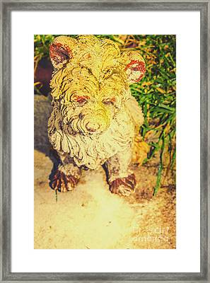 Cute Weathered White Garden Ornament Of A Dog Framed Print