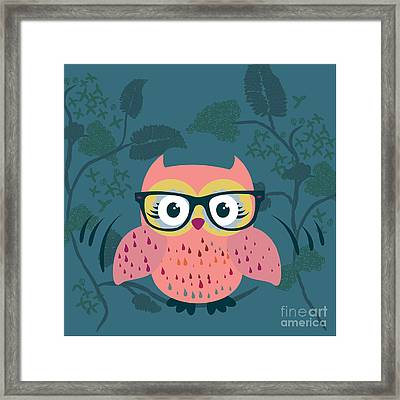 Cute Wild Life Hipster Owl. Framed Print by Gal Amar