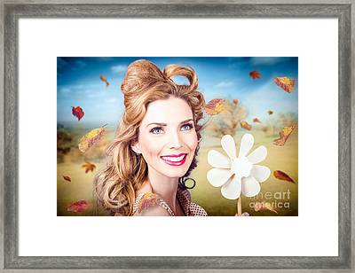 Cute Woman With Magnificent Hair. Beauty In Nature Framed Print by Jorgo Photography - Wall Art Gallery