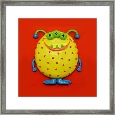 Cute Yellow Monster Framed Print by Amy Vangsgard