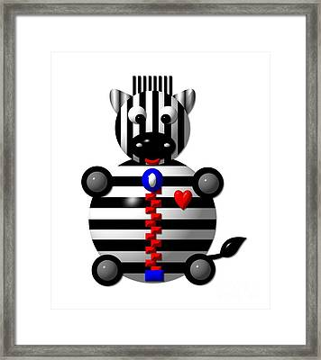 Cute Zebra With A Zipper Framed Print