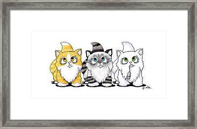 Cutie Face Kitten Trio Framed Print by Kim Niles