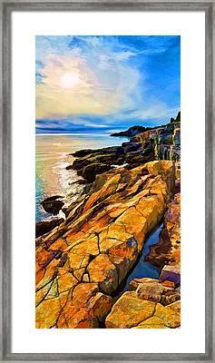 Cutler Coast Lichen Framed Print by ABeautifulSky Photography