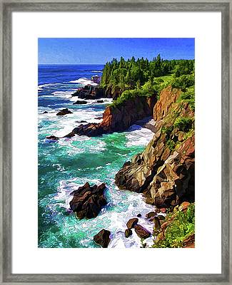 Cutler Coast Whitewater Framed Print by ABeautifulSky Photography