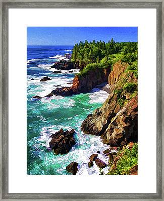 Cutler Coast Whitewater Framed Print