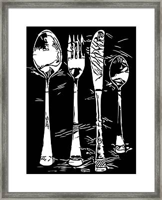 Cutlery Set Drawing Silhouette Framed Print