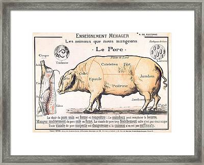 Cuts Of Pork Framed Print by French School