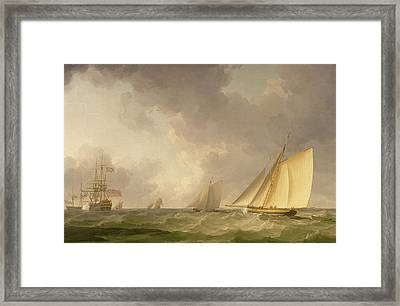 Cutter Close Hauled In A Fresh Breeze Framed Print by Charles Brooking