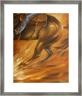 Framed Print featuring the painting Cutting Horse Closeup 2 by Dina Dargo