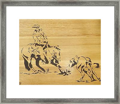 Cutting Horse Framed Print by Russell Ellingsworth