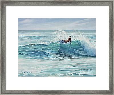 Cutting Through The Peak Framed Print by Joe Mandrick