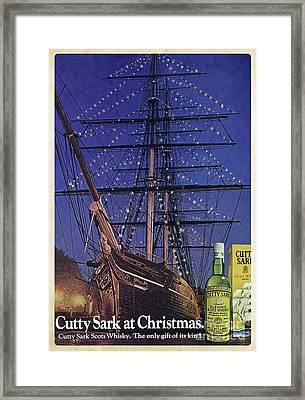 Cutty Sark Christmas Vintage Ad Framed Print by Edward Fielding