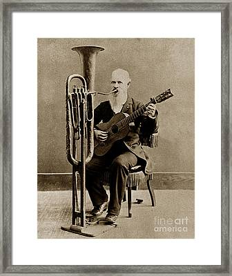 C. W. J. Johnson With His One-man Band Invention 1880 Framed Print by California Views Mr Pat Hathaway Archives