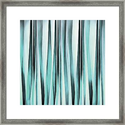 Cyan Blue Ocean Stripey Lines Pattern  Framed Print