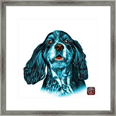 Cyan Cocker Spaniel Pop Art - 8249 - Wb Framed Print