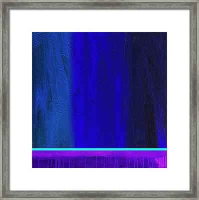 Cyan Line By Nixo Framed Print